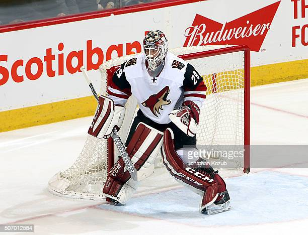 Goaltender Anders Lindback of the Arizona Coyotes guards the net during third period action against the Winnipeg Jets at the MTS Centre on January 26...