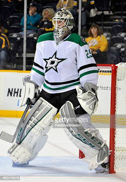 Goaltender Anders Lindback of the Dallas Stars plays in the game against the Nashville Predators during the game at Bridgestone Arena on October 11...
