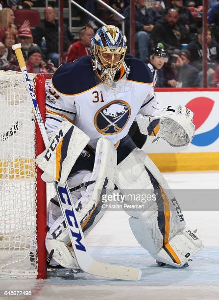 Goaltender Anders Nilsson of the Buffalo Sabres in action during the first period of the NHL game against the Arizona Coyotes at Gila River Arena on...
