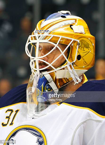 Goaltender Anders Nilsson of the Buffalo Sabres looks on during the pregame warm up prior to NHL action against the Winnipeg Jets at the MTS Centre...