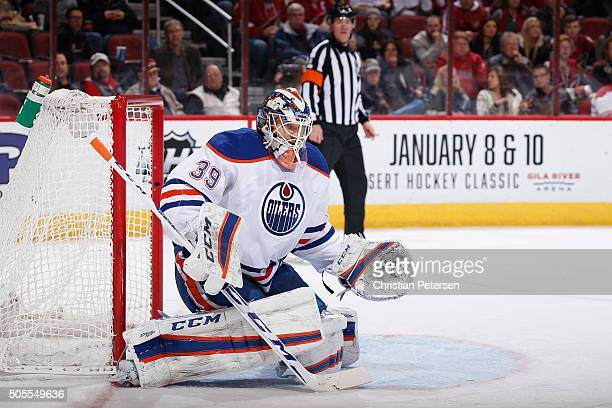 Goaltender Anders Nilsson of the Edmonton Oilers in action during the NHL game against the Arizona Coyotes at Gila River Arena on January 12 2016 in...