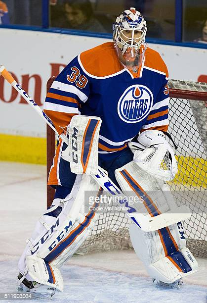 Goaltender Anders Nilsson of the Edmonton Oilers warms up against the Ottawa Senators on February 23 2016 at Rexall Place in Edmonton Alberta Canada