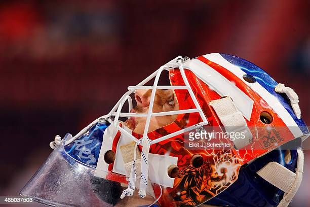 Goaltender Anders Nilsson of the New York Islanders warms up on the ice prior to the start of the game against the Florida Panthers at the BBT Center...