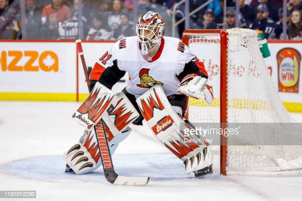 Goaltender Anders Nilsson of the Ottawa Senators guards the net during first period action against the Winnipeg Jets at the Bell MTS Place on...