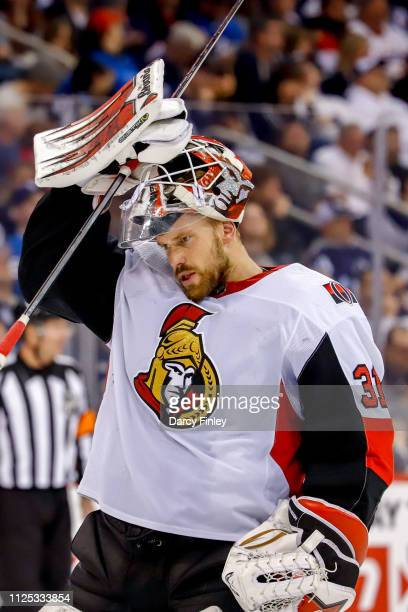 Goaltender Anders Nilsson of the Ottawa Senators looks on during a second period stoppage in play against the Winnipeg Jets at the Bell MTS Place on...