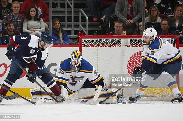 Goaltender Anders Nilsson of the St Louis Blues makes a save against Matt Duchene of the Colorado Avalanche at the Pepsi Center on April 03 2016 in...