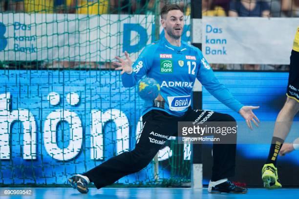 Goaltender Andreas Palicka of RheinNeckar Loewen tries to make a save during the DKB HBL match between RheinNeckar Loewen and THW Kiel at SAP Arena...