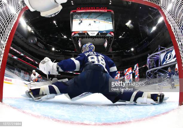 Goaltender Andrei Vasilevskiy of the Tampa Bay Lightning can't make the save on a shot for the game-winning goal by Jordan Eberle of the New York...