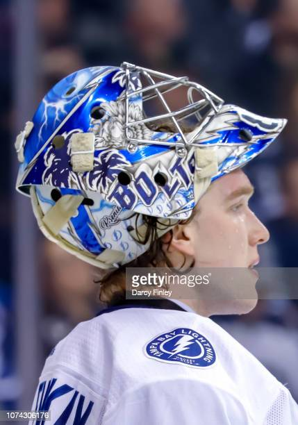 Goaltender Andrei Vasilevskiy of the Tampa Bay Lightning looks on during a second period stoppage in play against the Winnipeg Jets at the Bell MTS...