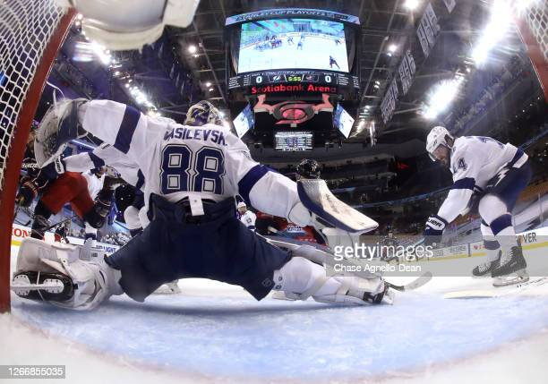 Goaltender Andrei Vasilevskiy of the Tampa Bay Lightning makes a save against the Columbus Blue Jackets during the first period of Game Four of the...