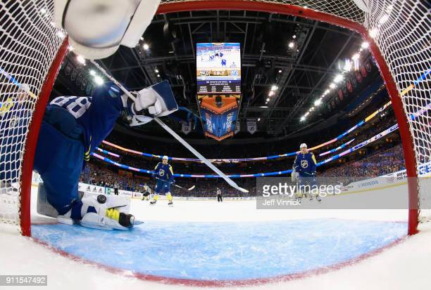 Goaltender Andrei Vasilevskiy of the Tampa Bay Lightning makes a save during the 2018 Honda NHL AllStar Game at Amalie Arena on January 28 2018 in...