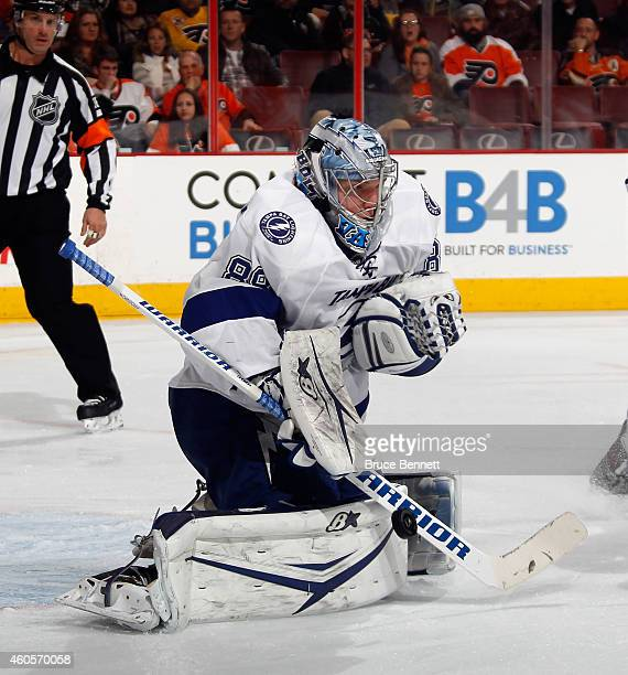 Goaltender Andrei Vasilevskiy of the Tampa Bay Lightning makes the pad save in his first NHL game against the Philadelphia Flyers at the Wells Fargo...
