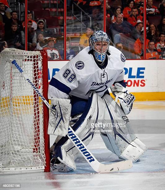 Goaltender Andrei Vasilevskiy of the Tampa Bay Lightning tends net in his first NHL game against the Philadelphia Flyers at the Wells Fargo Center on...