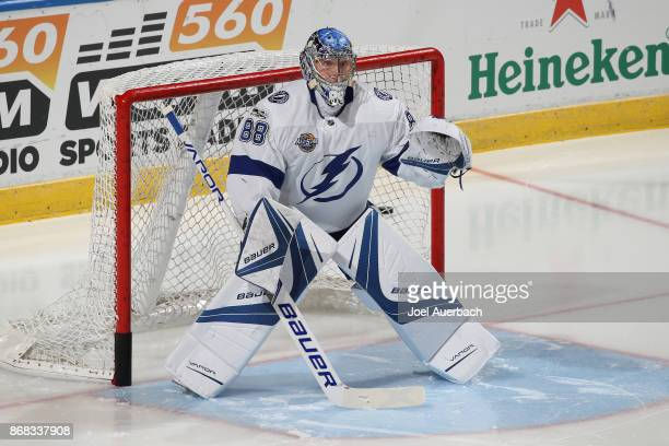Goaltender Andrei Vasilevskiy of the Tampa Bay Lightning warms up prior to the game against the Florida Panthers at the BBT Center on October 30 2017...