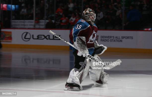 Goaltender Andrew Hammond of the Colorado Avalanche skates back to the net against the Philadelphia Flyers at the Pepsi Center on March 28 2018 in...