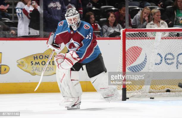 Goaltender Andrew Hammond of the Colorado Avalanche skates during warm ups prior to the game against the Dallas Stars at the Pepsi Center on November...