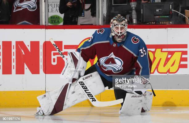 Goaltender Andrew Hammond of the Colorado Avalanche skates prior to the game against the Columbus Blue Jackets at the Pepsi Center on January 4 2018...