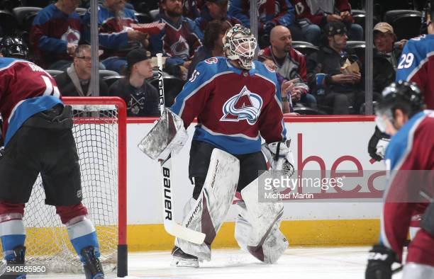 Goaltender Andrew Hammond of the Colorado Avalanche skates prior to the game against the Philadelphia Flyers at the Pepsi Center on March 28 2018 in...