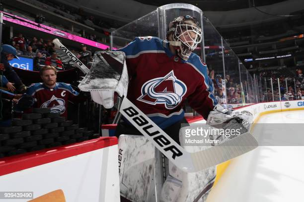 Goaltender Andrew Hammond of the Colorado Avalanche takes to the ice prior to the game against the Philadelphia Flyers at the Pepsi Center on March...