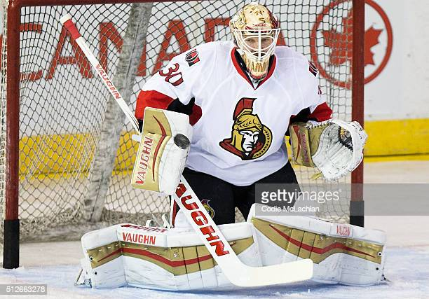 Goaltender Andrew Hammond of the Ottawa Senators skates during warmup during a game against the Edmonton Oilers on February 23 2016 at Rexall Place...