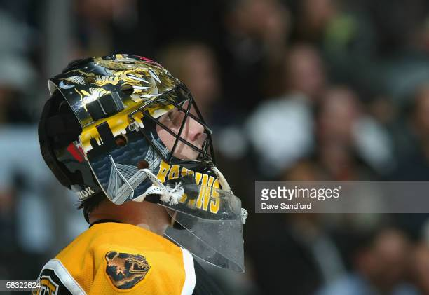 Goaltender Andrew Raycroft of the Boston Bruins in action against the Toronto Maple Leafs during the NHL game at Air Canada Centre on November 23,...