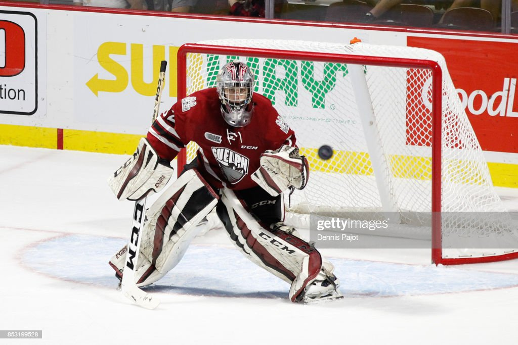 Goaltender Anthony Popovich #32 of the Guelph Storm watches the puck against the Windsor Spitfires on September 24, 2017 at the WFCU Centre in Windsor, Ontario, Canada.