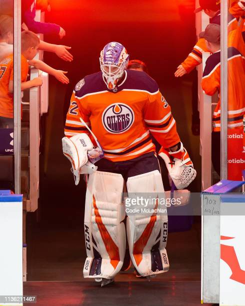 Goaltender Anthony Stolarz of the Edmonton Oilers skates against the New York Rangers at Rogers Place on March 11 2019 in Edmonton Alberta Canada