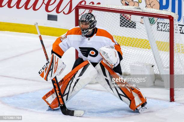 Goaltender Anthony Stolarz of the Philadelphia Flyers guards the net during second period action against the Winnipeg Jets at the Bell MTS Place on...