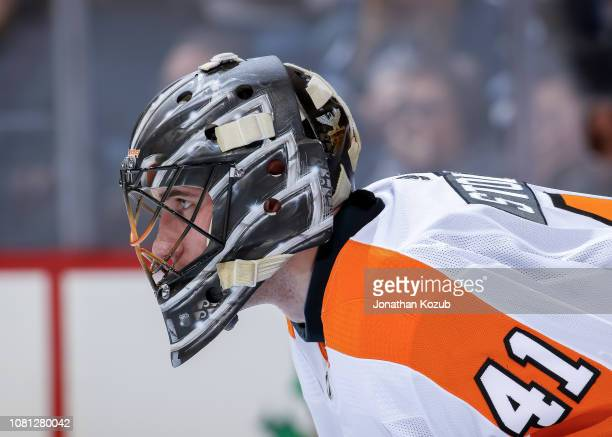 Goaltender Anthony Stolarz of the Philadelphia Flyers looks on during third period action against the Winnipeg Jets at the Bell MTS Place on December...