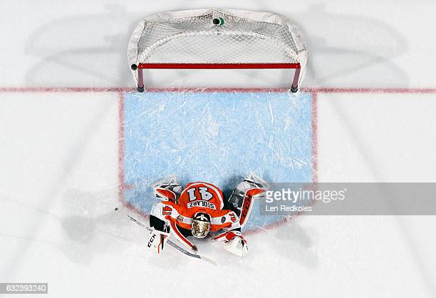 Goaltender Anthony Stolarz of the Philadelphia Flyers warms up prior to his game against the Edmonton Oilers on December 8 2016 at the Wells Fargo...