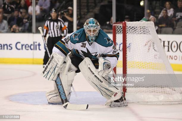 Goaltender Antii Niemi of the San Jose Sharks in goal against the Dallas Stars at American Airlines Center on March 15 2011 in Dallas Texas