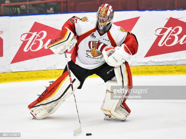 Goaltender Antoine Samuel of the BaieComeau Drakkar looks to play the puck against the BlainvilleBoisbriand Armada during the QMJHL game at Centre...