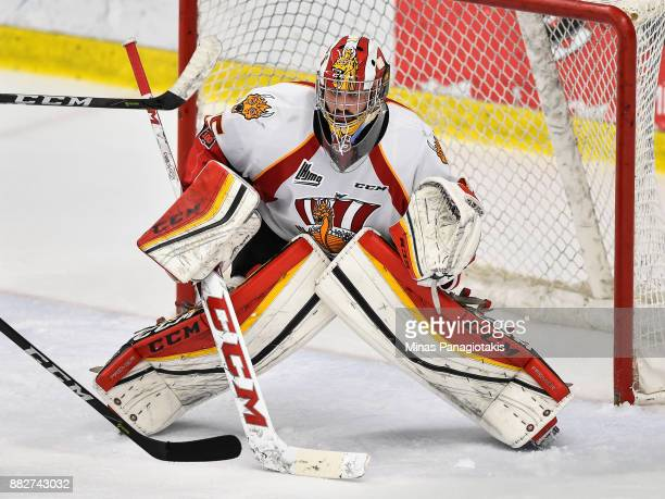 Goaltender Antoine Samuel of the BaieComeau Drakkar protects his net against the BlainvilleBoisbriand Armada during the QMJHL game at Centre...
