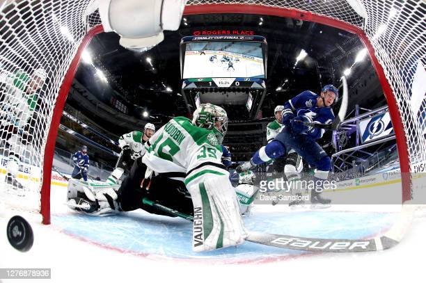 Goaltender Anton Khudobin of the Dallas Stars can't make the save on a shot for a goal by Ondrej Palat of the Tampa Bay Lightning in the second...