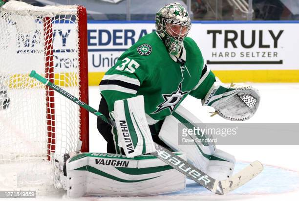 Goaltender Anton Khudobin of the Dallas Stars makes a save in the second period of Game Three of the Western Conference Final of the 2020 NHL Stanley...