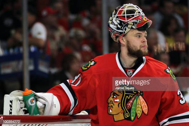 Goaltender Antti Niemi of the Chicago Blackhawks looks on while taking on the San Jose Sharks in the first period of Game Four of the Western...
