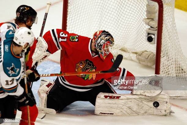 Goaltender Antti Niemi of the Chicago Blackhawks makes a save while taking on the San Jose Sharks in the second period of Game Four of the Western...