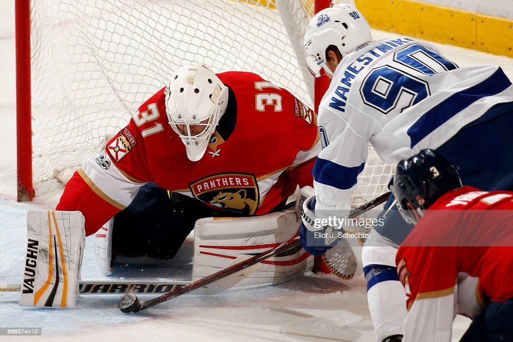 Goaltender Antti Niemi #31 of the Florida Panthers defends the net against Vladislav Namestnikov #90 of the Tampa Bay Lightning at the BB&T Center on October 30, 2017 in Sunrise, Florida.
