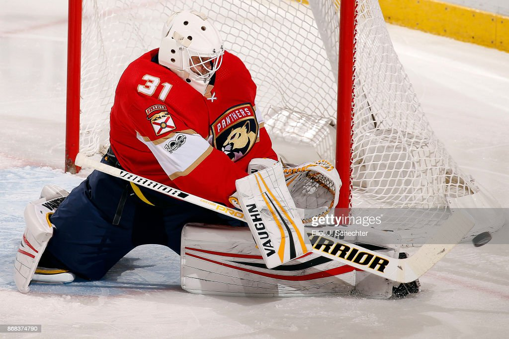 Goaltender Antti Niemi #31 of the Florida Panthers defends the net against the Tampa Bay Lightning at the BB&T Center on October 30, 2017 in Sunrise, Florida.