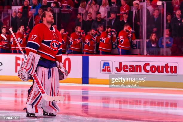 Goaltender Antti Niemi of the Montreal Canadiens looks on during the singing of the anthems against the New York Rangers prior to the NHL game at the...