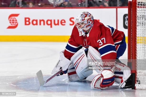 Goaltender Antti Niemi of the Montreal Canadiens protects his net during the warmup against the New York Rangers prior to the NHL game at the Bell...