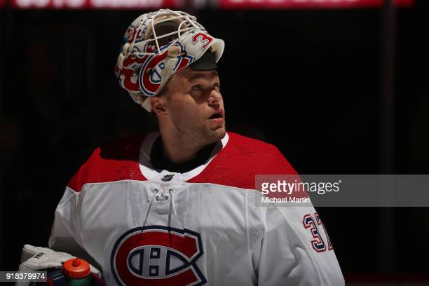 Goaltender Antti Niemi of the Montreal Canadiens readies for the game prior to puck drop against the Colorado Avalanche at the Pepsi Center on...