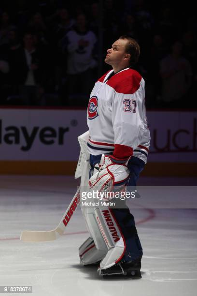 Goaltender Antti Niemi of the Montreal Canadiens stands during the anthem prior to the game against the Colorado Avalanche at the Pepsi Center on...