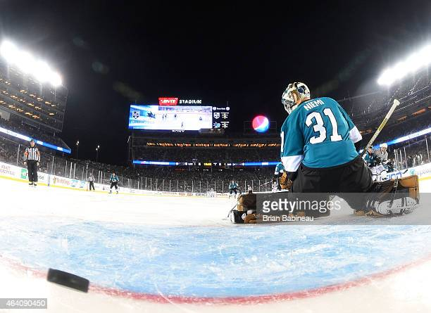 Goaltender Antti Niemi of the San Jose Sharks can't make the save on a shot for a goal by Marian Gaborik of the Los Angeles Kings in the third period...