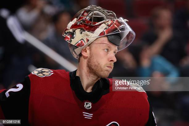 Goaltender Antti Raanta of the Arizona Coyotes during the second period of the NHL game against the San Jose Sharks at Gila River Arena on January 16...