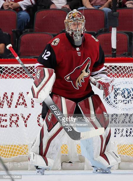 Goaltender Antti Raanta of the Arizona Coyotes in action during the NHL game against the Ottawa Senators at Gila River Arena on October 30 2018 in...
