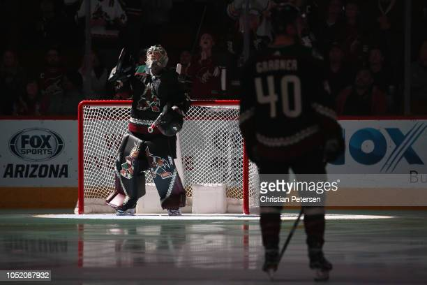 Goaltender Antti Raanta of the Arizona Coyotes is introduced before the NHL game against the Buffalo Sabres at Gila River Arena on October 13 2018 in...