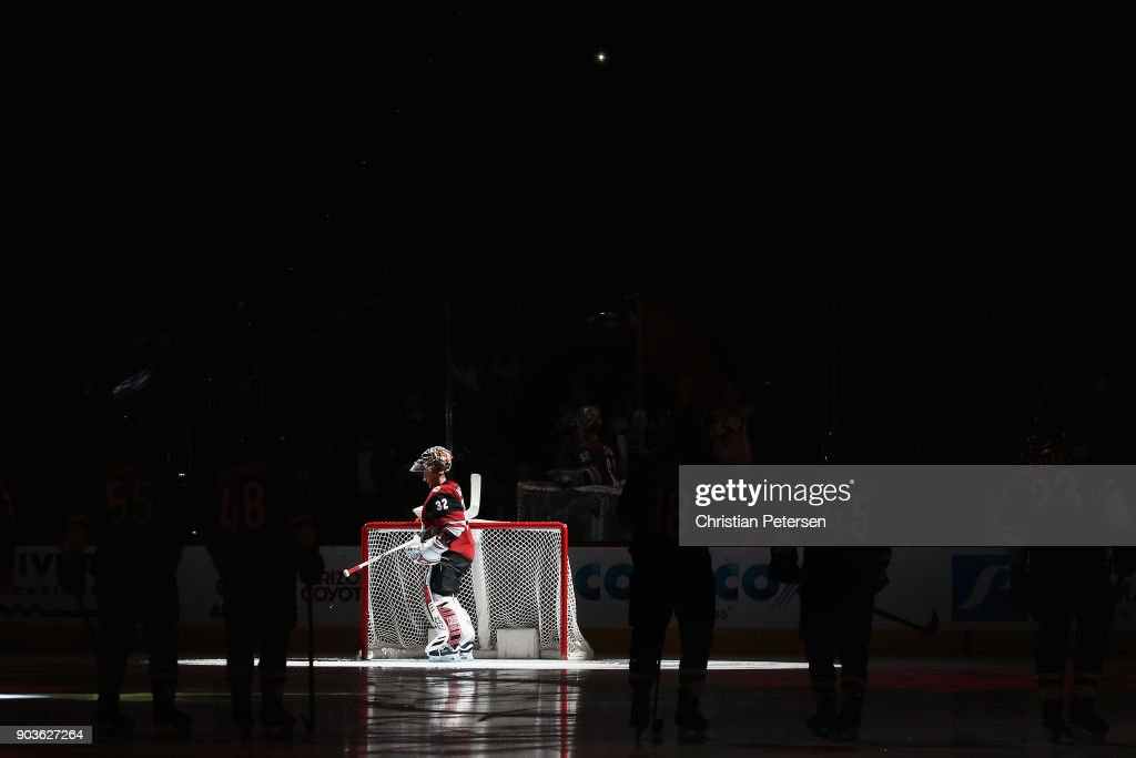 Goaltender Antti Raanta #32 of the Arizona Coyotes is introduced before the NHL game against the New York Rangers at Gila River Arena on January 6, 2018 in Glendale, Arizona.