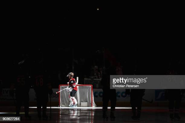 Goaltender Antti Raanta of the Arizona Coyotes is introduced before the NHL game against the New York Rangers at Gila River Arena on January 6 2018...