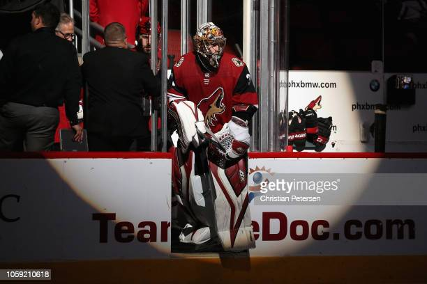 Goaltender Antti Raanta of the Arizona Coyotes skates onto the ice during the NHL game against the Ottawa Senators at Gila River Arena on October 30...